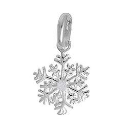 Anhänger Schneeflocke in echt Sterling-Silber 925, Charm, Ketten- oder Bettelarmband-Anhänger