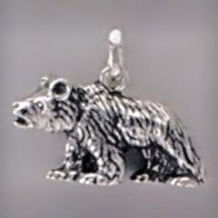 Anhänger Bär laufend in Silber oder Gold, Charm T158, Kettenanhänger oder Bettelarmband-Anhänger