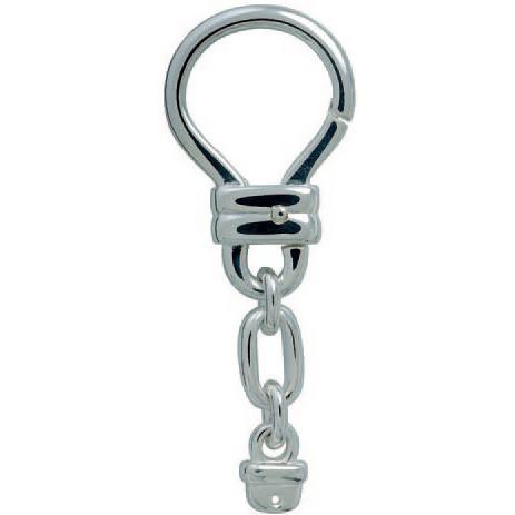 Schlüsselring-Karabiner mit Kette & Schnappverschluss, Schlüsselmechanik in Silber 925 für Anhänger.