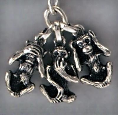 Anhänger Affen, indische Weisheit in Silber oder Gold, T177, Ketten-, Schlüsselanhänger oder Kettenanhänger