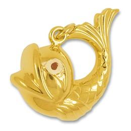 Anhänger Fisch in echt Gelbgold, Charm, Kettenanhänger oder Bettelarmband-Anhänger