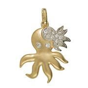 Anhänger Tintenfisch, Octopus, Oktopus, Krake, Sepia, Kalmar in echt Gelbgold 333 mit Zirkonia, Ketten- oder Schlüssel-Anhänger