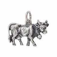 Anhänger Kuh in echt Sterling-Silber 925 oder Gold, Charm, Ketten- oder Bettelarmband-Anhänger
