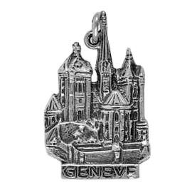 Anhänger Genf, Kathedrale St. Peter in echt Sterling-Silber 925 oder Gold, Ketten- oder Schlüssel-Anhänger