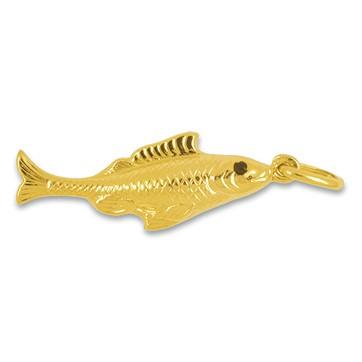 Anhänger Lachsfisch in echt Gelbgold 375, 585 oder 750, Kettenanhänger oder Schlüssel-Anhänger