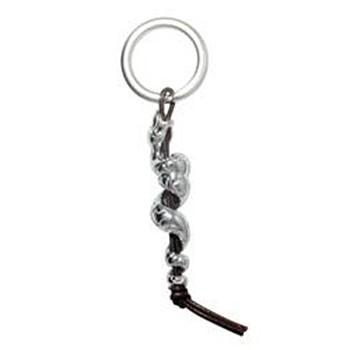 Anhänger Schlange in echt Sterling-Silber 925 mit Spaltring und Lederband, Ketten- oder Schlüssel-Anhänger