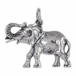 Anhänger Elefant in echt Sterling-Silber oder Gelbgold, Charm, Kettenanhänger oder Schlüssel-Anhänger