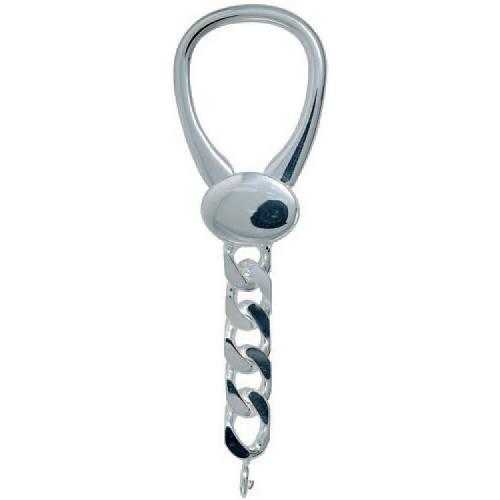 Schlüsselring mit Klemmverschluss & Panzerkette, Schlüsselmechanik in Sterling-Silber 925/000 für Anhänger