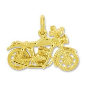 Anhänger Motorrad in echt Sterling-Silber 925 oder Gelbgold, Charm, Ketten- oder Bettelarmband-Anhänger