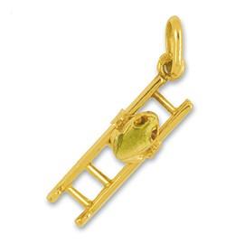 Anhänger Frosch auf Leiter in echt Gelbgold, Charm, Ketten- oder Bettelarmband-Anhänger