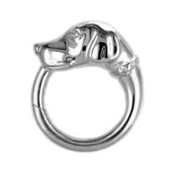 Federring Hundekopf, Schlüsselring mit Schnappverschluss, Schlüsselmechanik in Silber 925/000 für Anhänger