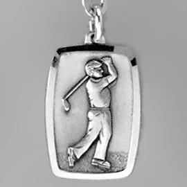 Anhänger Golfspieler, Plättchen in echt Sterling-Silber 925 oder Gold, Ketten- oder Schlüssel-Anhänger