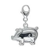 Anhänger Schwein in echt Sterling-Silber 925, Charm mit Karabiner, hochwertiger Ketten- oder Bettelarmband-Ein-/Anhänger