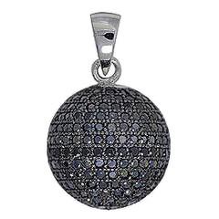 Anhänger Boule, Pétanque Kugel in echt Sterling-Silber rhodiniert mit Cubic Zirkonia-Steinen, Kettenanhänger