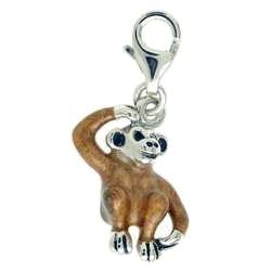 Anhänger Affe in echt Sterling-Silber 925 emailliert, Charm mit Karabiner, hochwertiger Ketten- oder Bettelarmband-Ein-/Anhänger