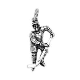 Anhänger Eishockeyspieler echt Sterling-Silber 925 oder Gold, Ketten- oder Schlüssel-Anhänger