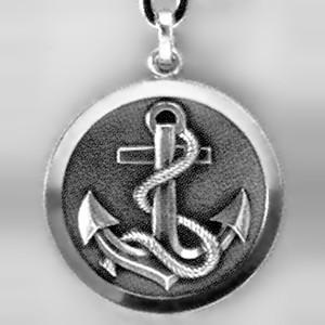 Anhänger Anker mit Tau, Plakette in echt Sterling-Silber 925, Ketten- oder Schlüssel-Anhänger