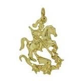Anhänger St. Georg in echt Sterling-Silber 925 oder Gold, Charm, Ketten- oder Bettelarmband-Anhänger