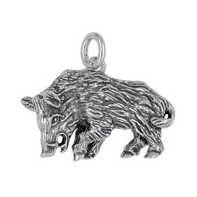 Anhänger Wildschwein in echt Sterling-Silber 925 und Gold, Ketten- oder Schlüssel-Anhänger