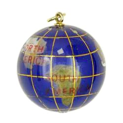 Anhänger Boule, Pétanque, Erdkugel, Stein mit Echtgold-Intarsien, Ketten- oder Schlüssel-Anhänger