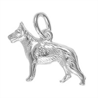 Anhänger Schäferhund in echt Sterling-Silber 925, Charm, Ketten- oder Bettelarmband-Anhänger
