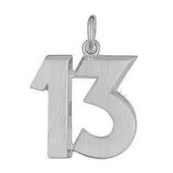 Anhänger 13 in echt Sterling-Silber 925, Ketten- oder Schlüssel-Anhänger