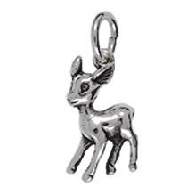 Anhänger Bambi in echt Sterling-Silber oder Gold, Charm T361, Kettenanhänger oder Bettelarmband-Anhänger