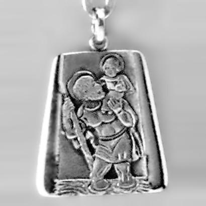 Anhänger Christophorus Trapez in echt Sterling-Silber 925 oder Gold, Ketten- oder Schlüssel-Anhänger