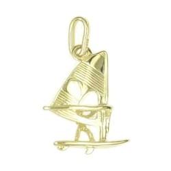 Anhänger Windsurfer mit Board und Segel in echt Sterling-Silber 925 oder Gold, Charm, Ketten- oder Bettelarmband-Anhänger