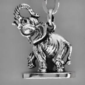 Anhänger Elefant als Petschaft in echt Sterling-Silber oder Gelbgold, Charm, Kettenanhänger oder Schlüssel-Anhänger