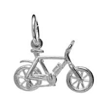 Anhänger Fahrrad in echt Sterling-Silber 925 oder Gold, Charm, Ketten- oder Bettelarmband-Anhänger