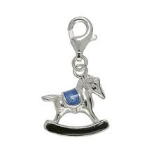 Anhänger Pferd in echt Sterling-Silber 925 lackiert, Charm mit Karabiner, hochwertiger Ketten- oder Bettelarmband-Ein-/Anhänger