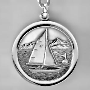 Anhänger Segelboot, Plakette in echt Sterling-Silber 925 und Gold, Ketten- oder Schlüssel-Anhänger
