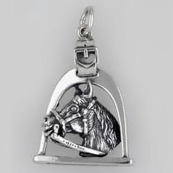 Anhänger Pferdekopf mit Steigbügel in echt Sterling-Silber 925 oder Gold, Ketten- oder Schlüssel-Anhänger