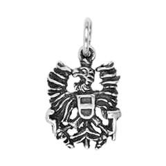 Anhänger Österreich, Bundesadler, Charm in echt Sterling-Silber oder Gold, Ketten- oder Bettelarmband-Anhänger