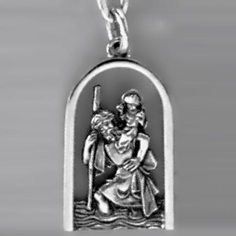 Anhänger Christophoros mit Rand in echt Sterling-Silber 925 oder Gold, Ketten- oder Schlüssel-Anhänger