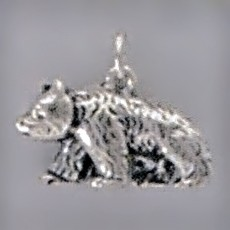 Anhänger Asiatischer Schwarzbär in Silber oder Gold, Charm, Kettenanhänger oder Bettelarmband-Anhänger