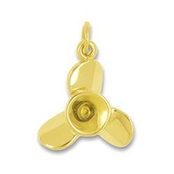 Anhänger Schiffsschraube, Propeller in echt Gelbgold, Charm, Ketten- oder Bettelarmband-Anhänger