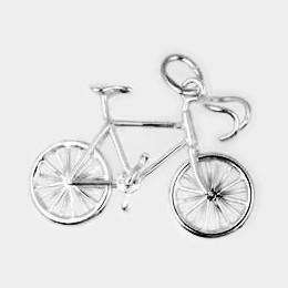 Anhänger Rennrad, Fahrrad in echt Sterling-Silber 925 oder Gold, Ketten- oder Schlüssel-Anhänger