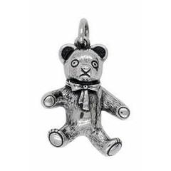 Anhänger Teddybär mit Schlaufe in echt Sterling-Silber oder Gold, Ketten- oder Schlüssel-Anhänger