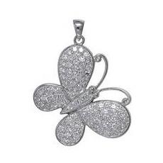 Anhänger Schmetterling, Falter in echt Sterling-Silber 925 rhodiniert, micro-pavé mit Zirkonia, Kettenanhänger