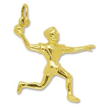 Anhänger Handballspieler in echt Sterling-Silber 925 oder Gelbgold, Charm, Ketten- oder Bettelarmband-Anhänger