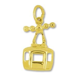 Anhänger Seilbahn-Kabine echt Gold, Charm, Ketten- oder Bettelarmband-Anhänger