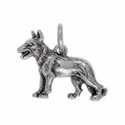 Anhänger Schäferhund in echt Sterling-Silber 925 oder Gold, Charm, Ketten- oder Bettelarmband-Anhänger