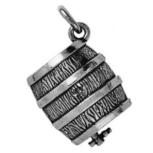 Anhänger Bierfass in echt Sterling-Silber 925 oder Gold, Ketten- oder Schlüssel-Anhänger
