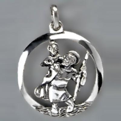 Anhänger Christophorus mit Rand in echt Sterling-Silber 925 oder Gold, Ketten- oder Schlüssel-Anhänger