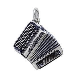 Anhänger Steirische Ziehharmonika, Diatonisches, französisches Akkordeon in echt Sterling-Silber 925 oder Gold, Ketten- oder Schlüssel-Anhänger