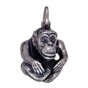 Anhänger Affe in Silber oder Gold, Charm T176, Schlüsselanhänger oder Kettenanhänger