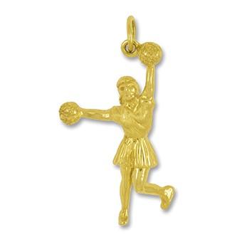 Anhänger Cheerleader mit Pompons in echt Sterling-Silber 925 oder Gold, Charm, Ketten- oder Bettelarmband-Anhänger