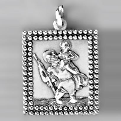 Anhänger Christophorus quadratisch in echt Sterling-Silber 925 oder Gold, Ketten- oder Schlüssel-Anhänger